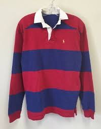 details about vintage polo ralph lauren rugby shirt striped black red