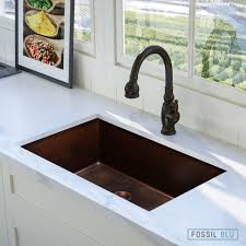 FSW1102 Luxury 30 Inch Hammered Copper Undermount Sink Single Bowl Copper Undermount Sink Fossil Blu74