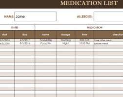 Medication List Template My Excel Templates
