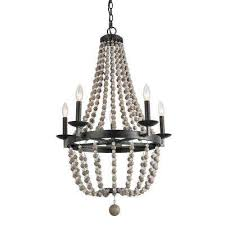 5 light black 22 in wood bead empire boho chandelier