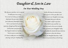 daughter wedding gift ebay Wedding Card Verses For Son And Daughter In Law daughter & son in law wedding day (poem gift) rose wedding card messages for son and daughter in law