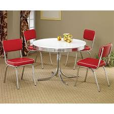 coaster cleveland 5 piece retro round dining set in white and red