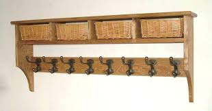 Oak Wall Coat Rack With Shelf