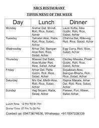 Mess Menu Chart Nirankari Tiffin Services Menu Card For Monthly Bases