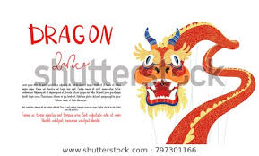 template of a dragon brochure flyer vector template dragon dance stock vector royalty