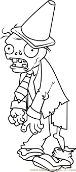 Conehead Zombie Coloring Page Free Plants Vs Zombies Coloring