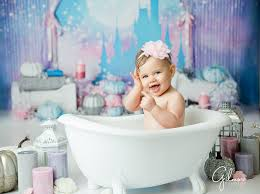 first birthday cake smash baby spa bathtub candles princess castle