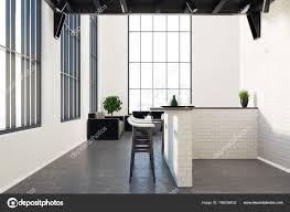 Moderne Küche Und Ein Esszimmer Grau Stockfoto