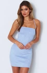 Light Blue Semi Dress Lottie Mini Dress Baby Blue Dresses Dresses Online