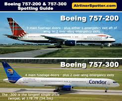 chart showing spotting tips between the 757 200 and 757 300 models the