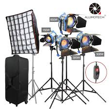 Arri 4 Light Kit Us 599 9 30 Off Alumotech As Arri 150w 300wx2 650w Fresnel Tungsten Spot Light Stands 4 Softbox Case With Wheels Lamp Kit For Photography Sutdio In