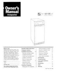 kenmore trash compactor. manual location kenmore trash compactor