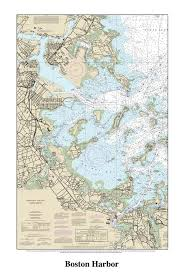Boston Harbor Chart Boston Harbor Decorative Nautical Chart Gonautical