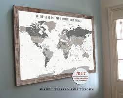 image 0 on world map wall art with photo frames with world map push pin world map world map wall art rustic wall etsy