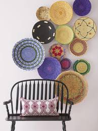 wall decor with woven baskets