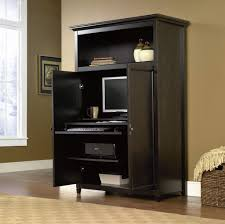 Black Painted Wooden Computer Armoire Photo