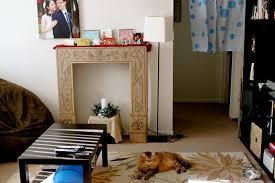diy cardboard faux fireplace