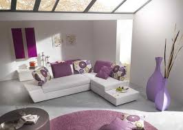 pretty color for small living room layout with purple round ruern white sofa