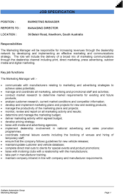 Roles Of A Sales And Marketing Manager Marketing Manager Job Person Specification Pdf