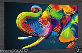 image is loading bright coloured elephant on canvas large art oil  on large art oil painting wall decor canvas with bright coloured elephant on canvas large art oil painting wall decor