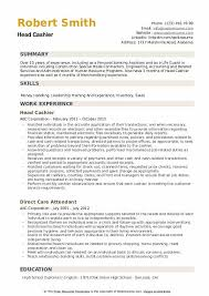 experience as a cashier head cashier resume samples qwikresume