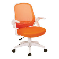 ave six jackson orange mesh and white frame office chair with flip arms
