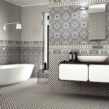 Black And White Patterned Floor Tiles Extraordinary Black White Patterned Tile Wall Tiles Bathroom And Lawrdco