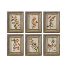 orange flowers plants framed wall art set of 6 prints are accents by heavily distressed black on wall art set of 6 with wall art sample ideas framed wall art cheap framed pictures framed