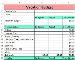 Budget Excel Vacation Budget Template Zero Based Budget Excel Download