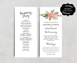 program template for wedding wedding program template instant download bohemian floral for