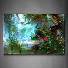 com two peas walk in forest beautiful wall art painting the picture print on canvas animal pictures for home decor decoration gift posters