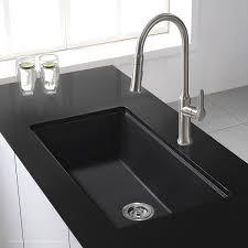 black kitchen sinks and faucets. Kraus KGU-413B 31 Inch Undermount Single Bowl Black Onyx Granite Kitchen Sink - Sinks Amazon.com And Faucets