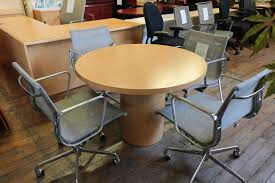 national hiland 36 diameter honey maple round conference table