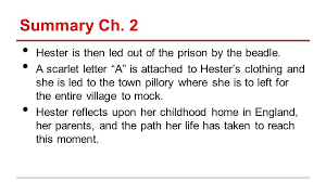 Summary Ch 2 Hester is then led out of the prison by the beadle