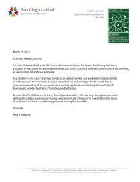 science teacher recommendation letter letter of recommendation sarah langs senior portfolio