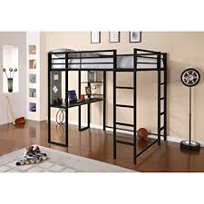 DHP Abode Full-Size Loft Bed Metal Frame with Desk and Ladder, Black