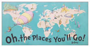 Dr Seuss Chart 40x20 Dr Seuss Colorful Characters Oh The Places Youll Go World Map Wood Wall
