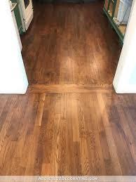refinished red oak hardwood floors living room and kitchen