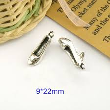 60 pcs antique silver alloy 3d high heeled shoes jewelry charms findings fit jewelry making