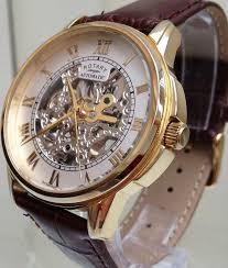 skeleton watch mechanical watches uk rotary automatic swiss men s watch 9ct gold plated skeleton watch used rrp£190