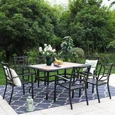 7 piece metal outdoor patio dining set