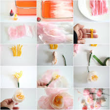 Making Flower Using Crepe Paper Crepe Peony Tutorial