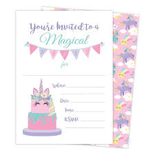 B Day Invitation Cards Unicorn Cake Happy Birthday Invitations Invite Cards 25 Count With Envelopes Seal Stickers Vinyl Girls Kids Party Walmart Com