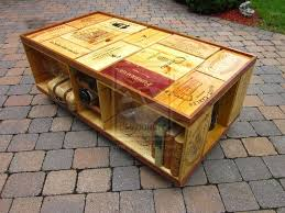 Multi-color stained wine crate deck table. This piece has wine panel ends  as a table-top, and the panels have a mixture of Walnut, Cherry and Natural  ...