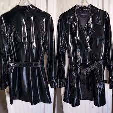 ann klein jackets blazers genuine patent leather trench coat burberry look