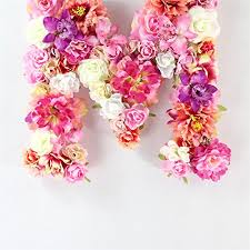 handmade artificial flower children room wall decoration monogram birthday fl letter m b073gr2w5p