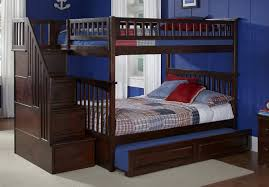 wooden bunk bed with trundle