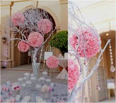 hanging crystals for wedding centerpieces. pink pomander wedding centerpieces hanging on silver tree with crystals for c