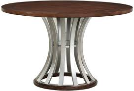Oxford Hills Industrial Round Gathering Table With Metal Base By Emerald At Wilsons Furniture
