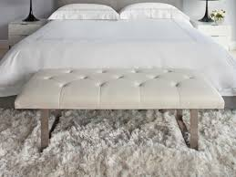 Bedroom:Exciting White Tufted Bedroom Bench With White Fur Rug And Bed  Sheet Decorating Ideas